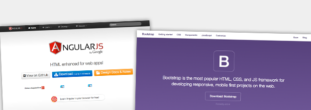 Screenshots van Angular.js en Bootstrap homepages